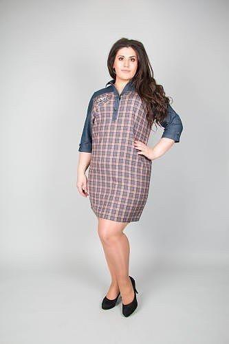 платье большого размера на женщину в клетку со вставкой